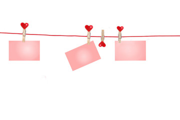 Clothesline with three little cards