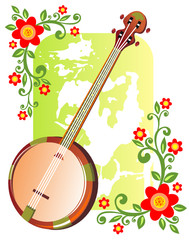 banjo with flowers