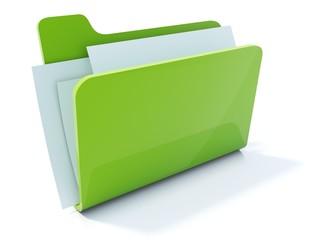 Full green folder icon isolated on white - fototapety na wymiar