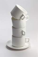 Empty white coffee cups