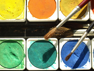 Painting tools colour palette and brushes