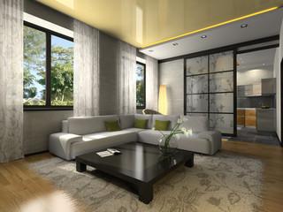 Interior of the stylish flat