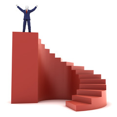 3d human on success stairs