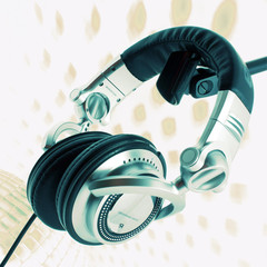 Wall Mural - DJ headphones abstract