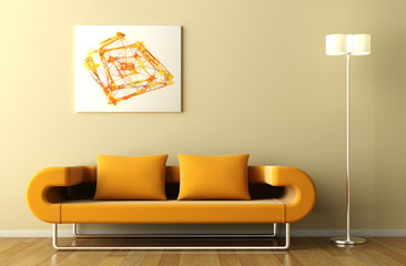 orange couch lamp and picture