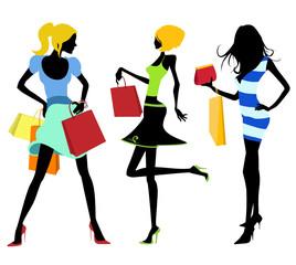 shopping girl illustration