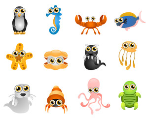 marine life vector - cartoon series 6