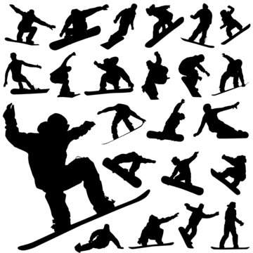 snowboard set vector