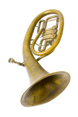Alto saxhorn close up  isolated on white