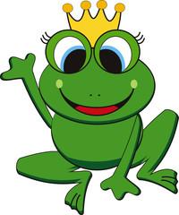 vector illustration of happy king  frog