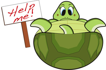 green turtle cartoon ask for sos