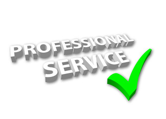 """Professional Service"" with Green Tick"