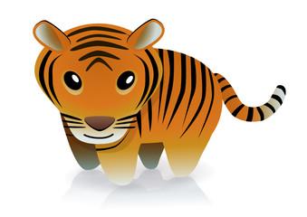 Tigre souriant (reflet)