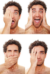 Multiple male expressions