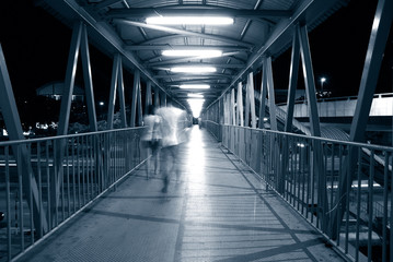 pedestrian and bridge in blue tone