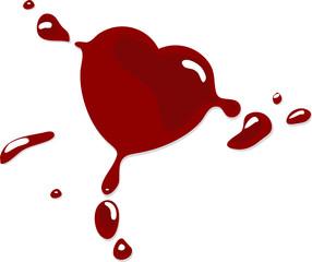 Red heart blot - vector illustration