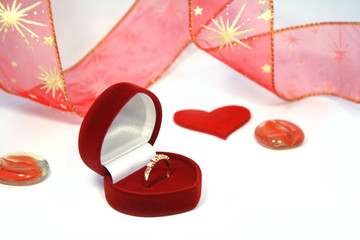 Happy Valentine's Day. heart with a ring decorated with ribbon