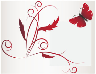 A large red butterfly and flower
