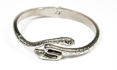 Bracelet from silver metal in a kind a two-head of a snake