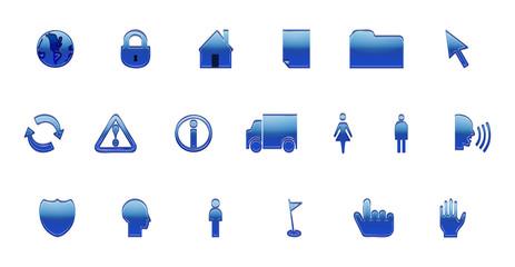 Icônes Web (bleu) - Poster