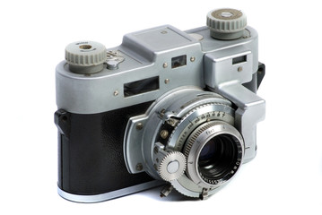 Vintage  35 mm metal chrome photo camera