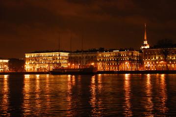 Night view of Neva river