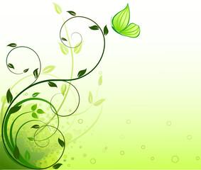 Tuinposter Vlinders in Grunge Floral background vector