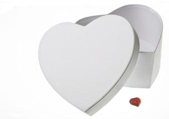 opened White heart-box