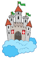 Poster Castle Medieval castle on clouds