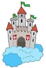 Printed kitchen splashbacks Castle Medieval castle on clouds