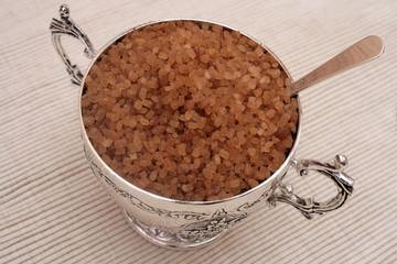 Silver sugar bowl with spoon.