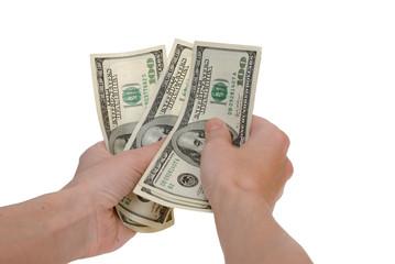 Dollars in hands