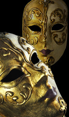 2 perspectives of a hand-painted mask from Venice Italy