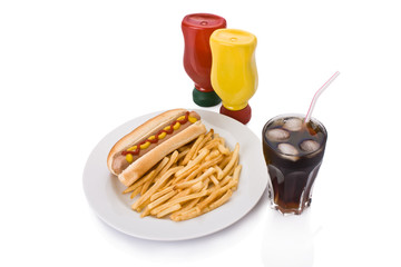 Fast food meal with Hotdog, French fries and a Cola in a dish
