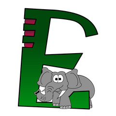 Alphabet - Letter E - With A Elephant - Isolated On White