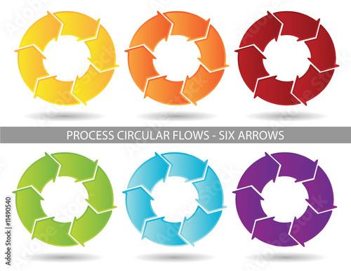 presentation graphics six arrow process circular flow stock image