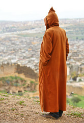muslim man in traditional Moroccan clothing