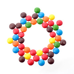 colorful candy in a circle - copy space in the middle