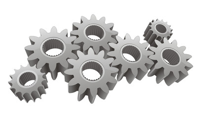 Vector gears isolated on white