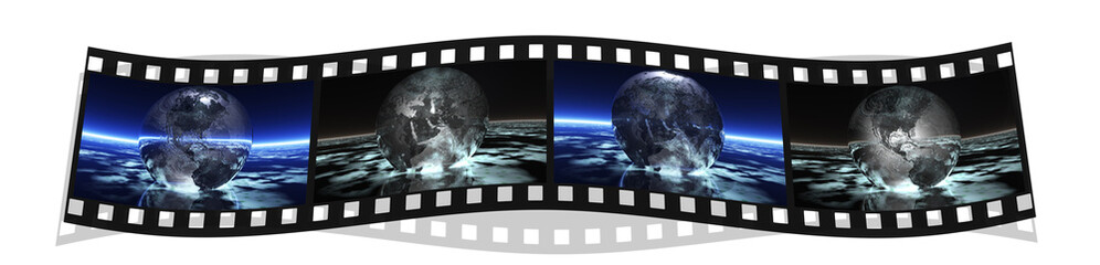 film stripe with 4 images of the earth isolated on a white