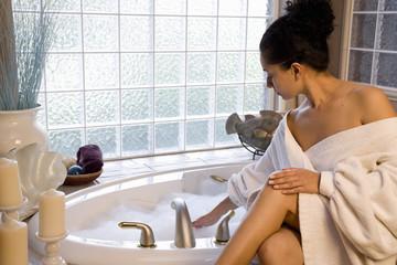 Taking a bubble bath