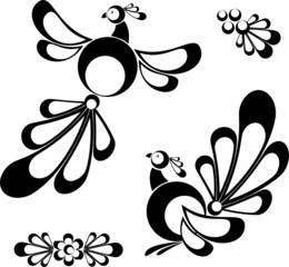 Birds, design elements, tatoo