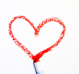 painted red heart on white