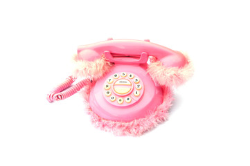 pink fluffy telephone