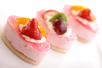 Cake with fresh fruits for Valentine's Day