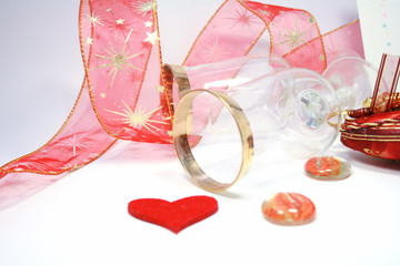 Happy Valentine's Day. glasses with a  decorated with ribbon