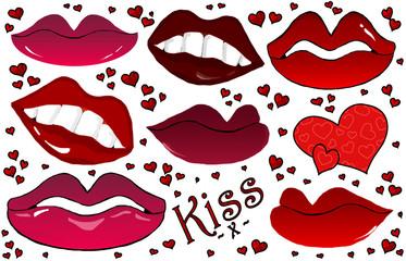 Romantic Lips , Hearts & Kisses Isolated Cartoon Set