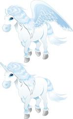 Fotobehang Pony Pegasus and Unicorn