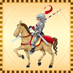 Deurstickers Ridders Knight and Horse with Background