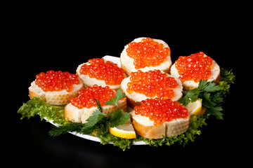 Sandwiches with caviar